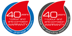 40 years of colour and anti-corrosion warranty